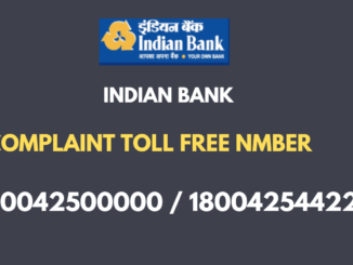Indian Bank complaint toll free number
