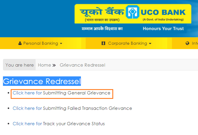 grievance redressal uco bank