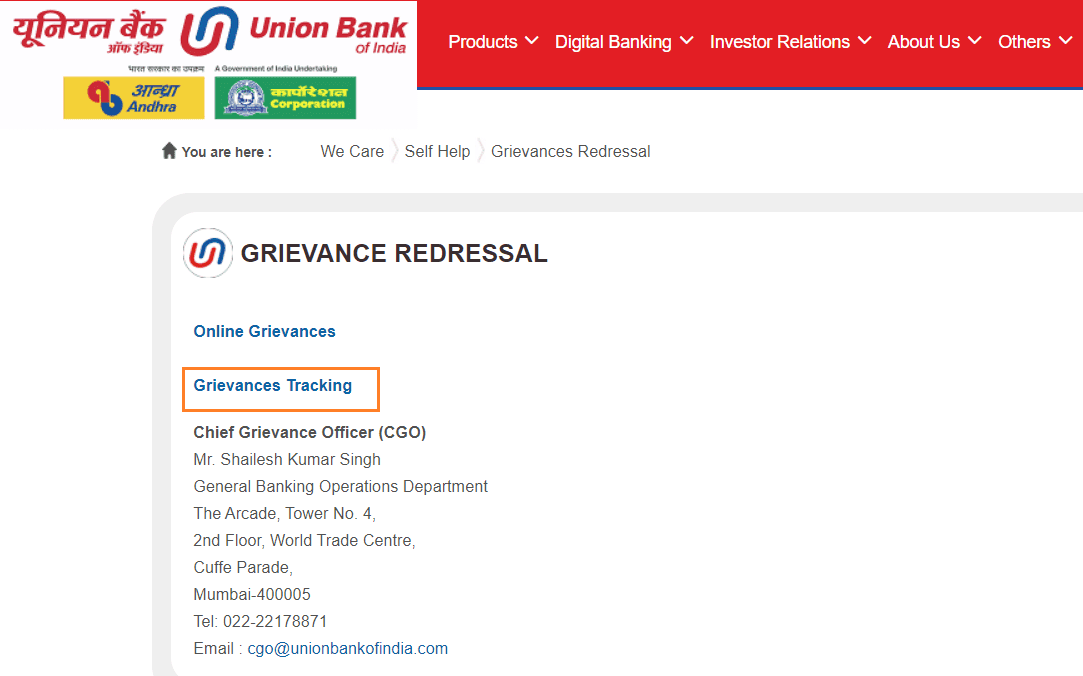 Grievances Tracking union bank of india