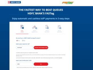 HDFC FASTag Registration using customer id