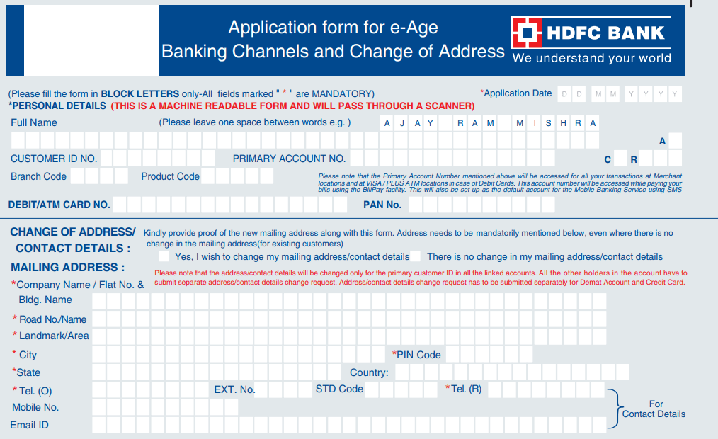 how to do change of address in hdfc bank account online