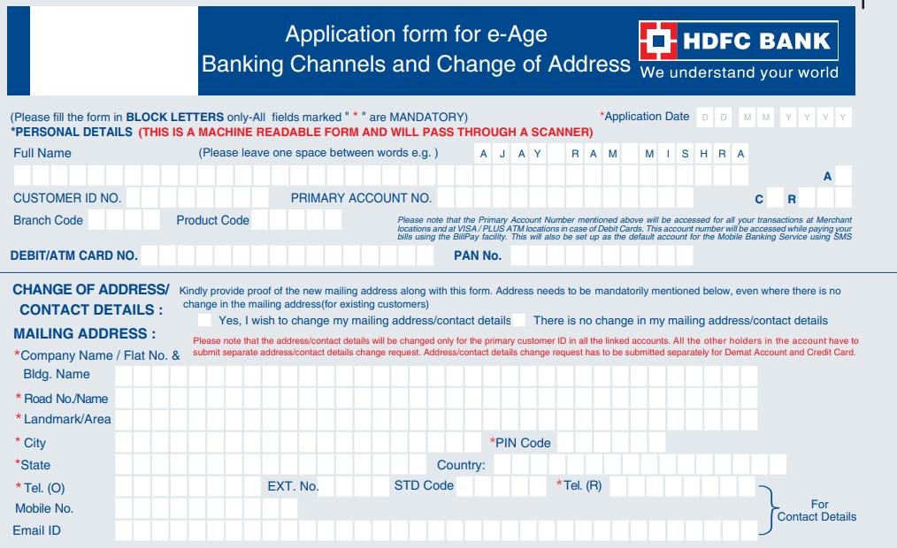 hdfc mobile number registration form