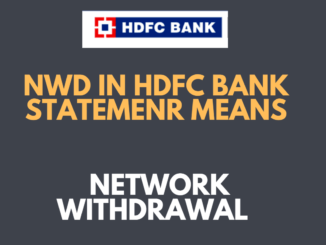 NWD means in HDFC Bank Statement