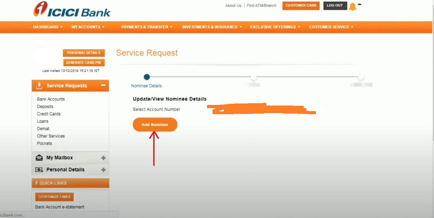 Add Nominee In ICICI Bank Online
