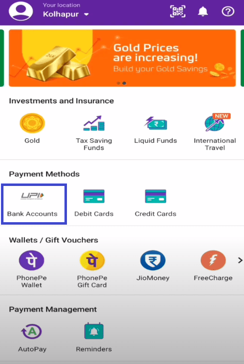 bank accounts in phonepe app