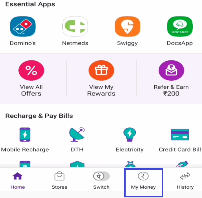 my money section phonepe