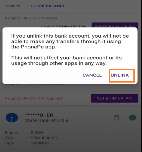 unlink bank account from phonepe