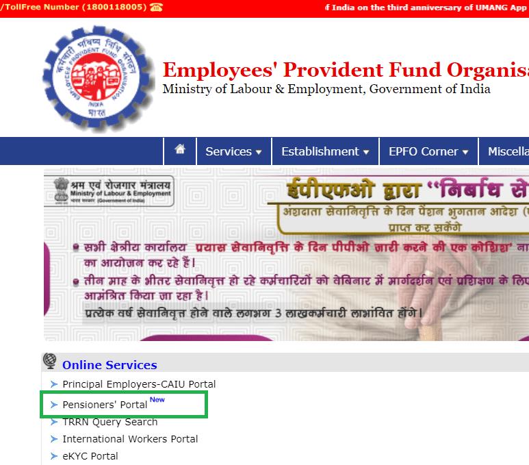Pensioners' Portal link