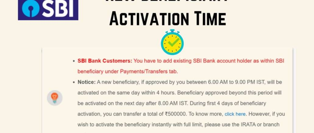 sbi new beneficiary activation time