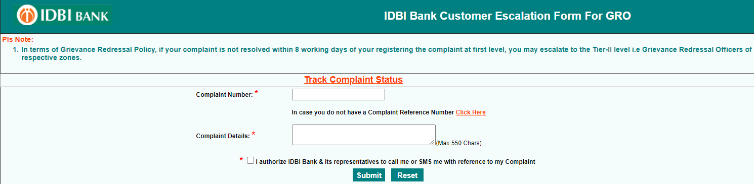 submit complaint to Grievance Redressal Officer in idbi bank online