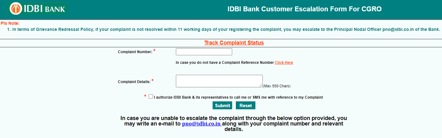submit complaint to Principal Nodal Officer in idbi bank online
