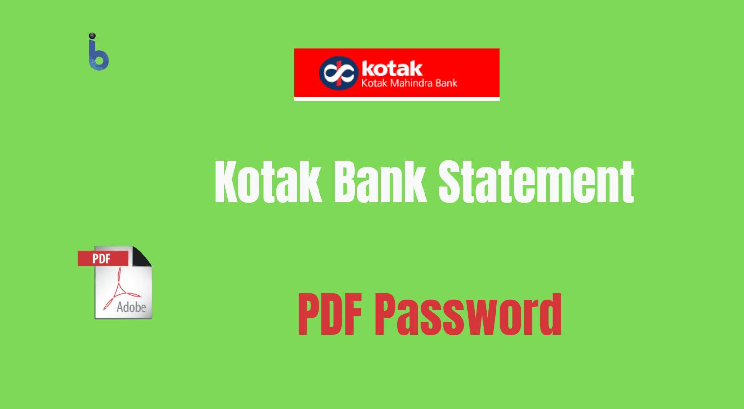 kotak bank statement pdf password