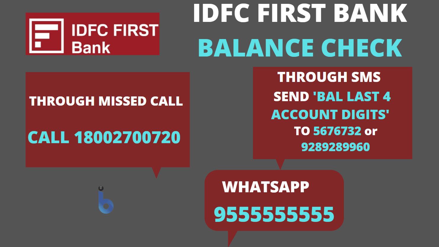 IDFC FIRST Bank Account Balance Check