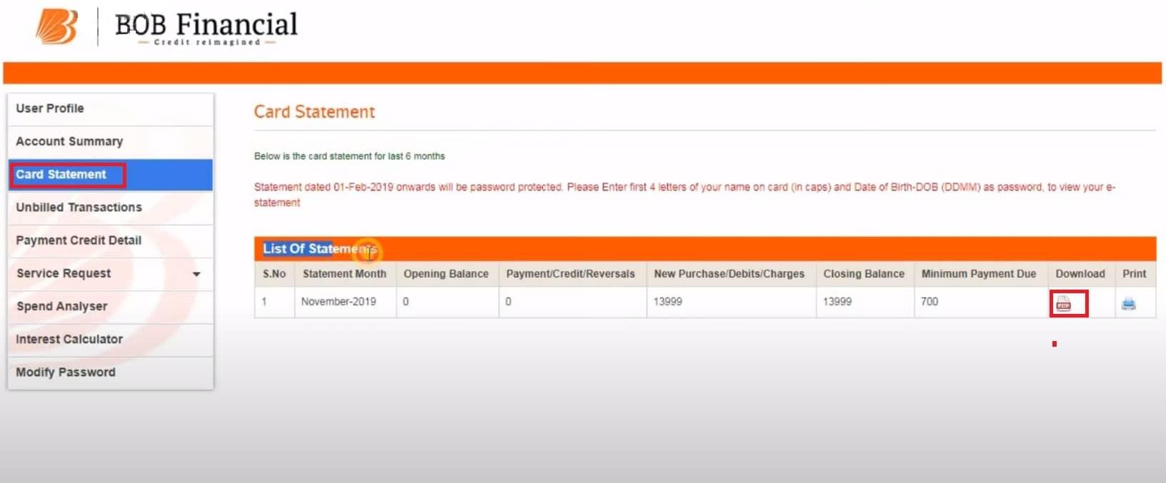 download bank of baroda credit card statement