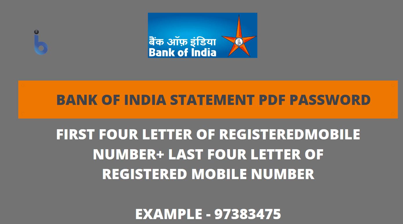 bank of india statement pdf password